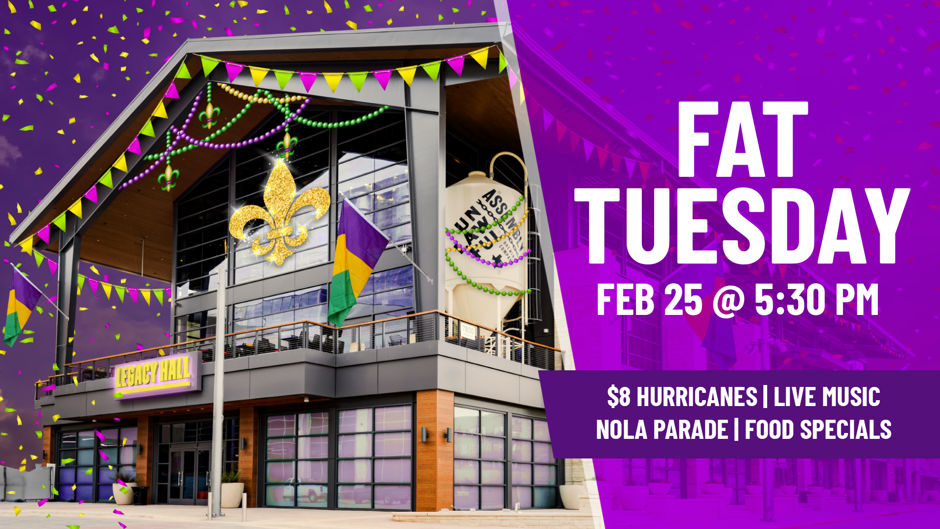 Promo image of Fat Tuesday at Legacy Hall