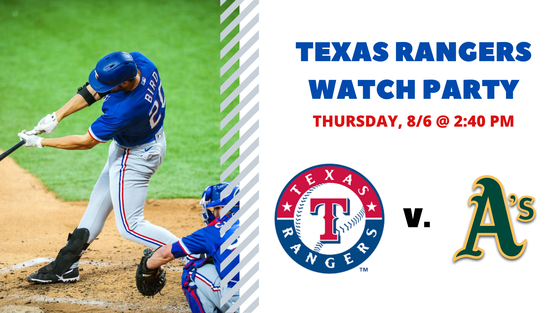 Promo image of Rangers v. Athletics I Free Watch Party