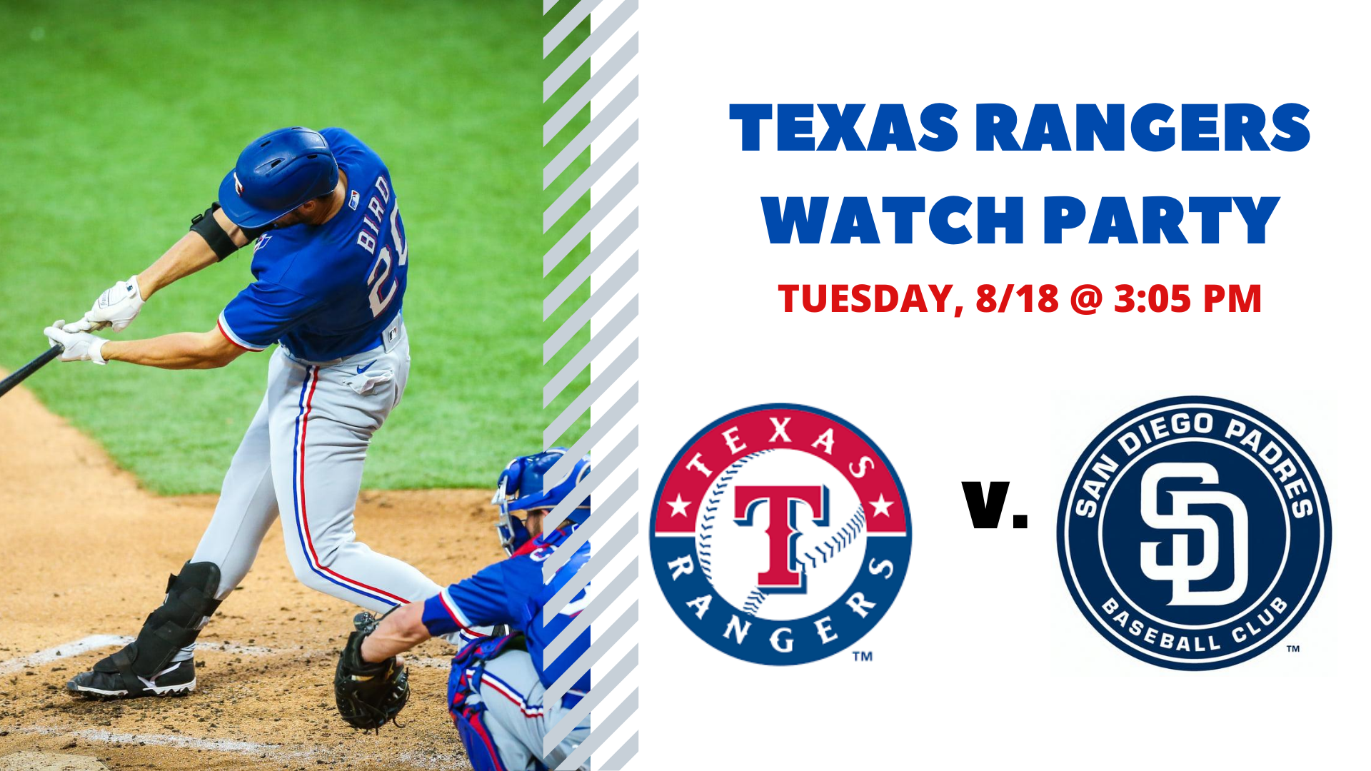 Promo image of Rangers v. Padres I Free Watch Party