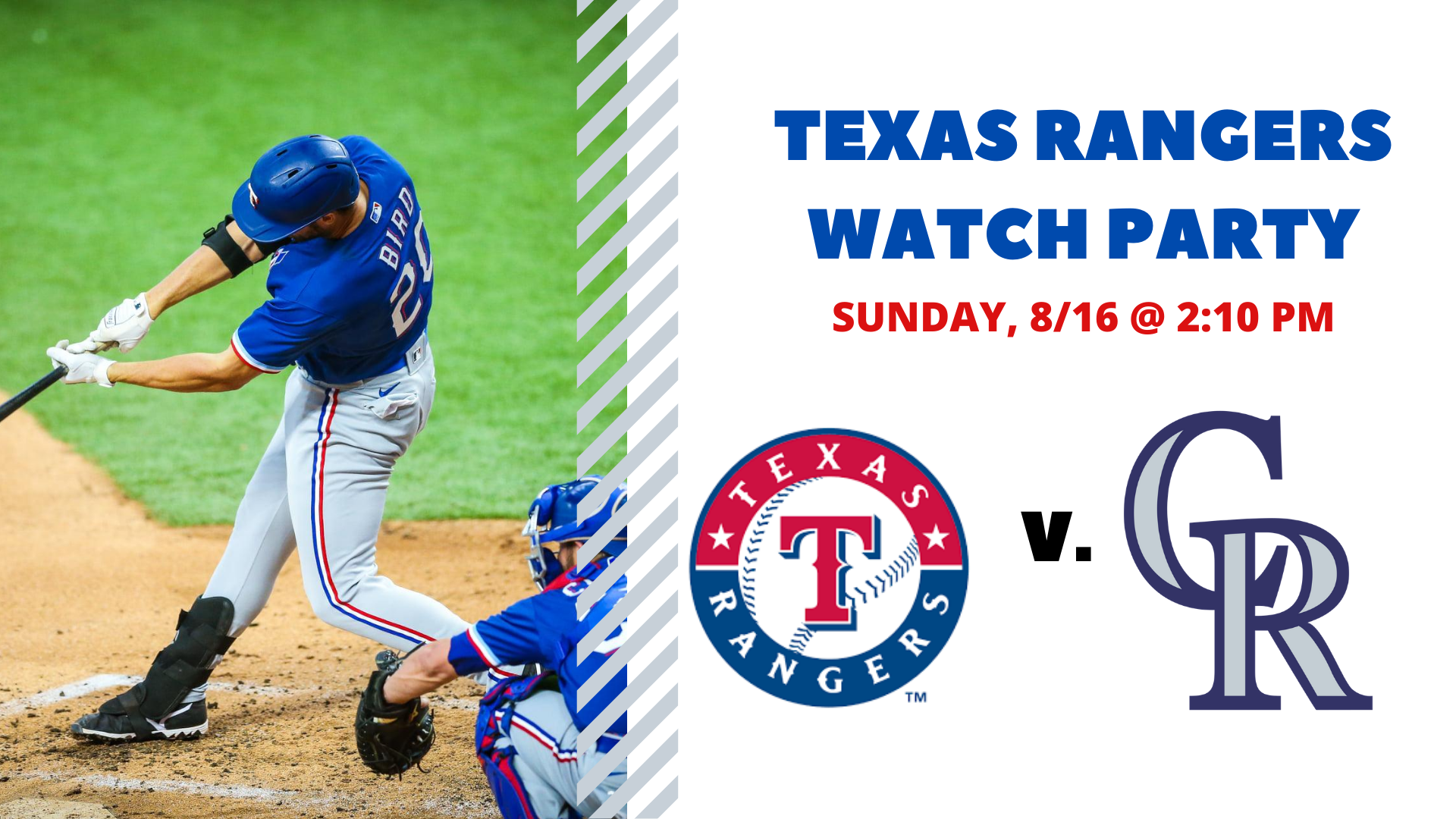 Promo image of Rangers v. Rockies I Free Watch Party