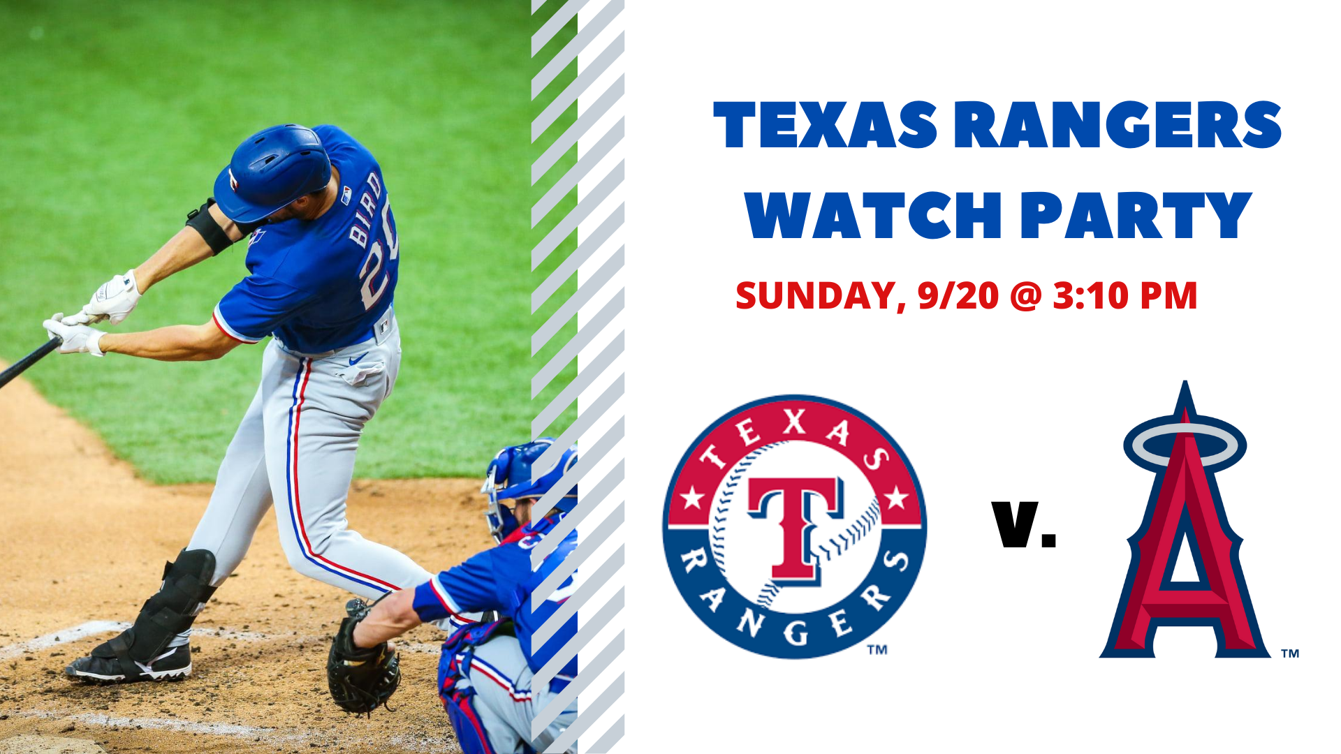 Rangers v. Angels I Free Watch Party - hero