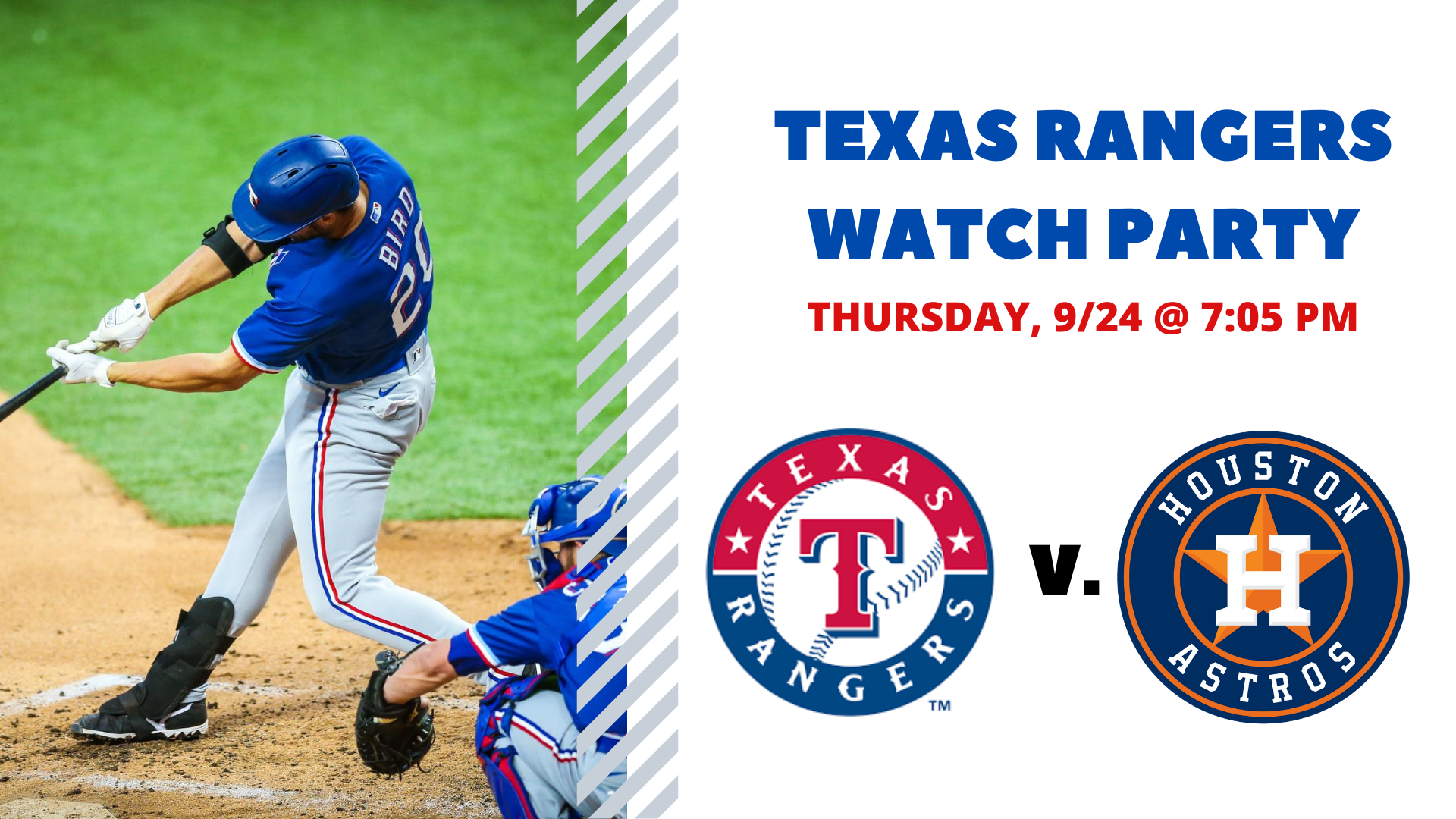 Promo image of Rangers v. Astros I Free Watch Party