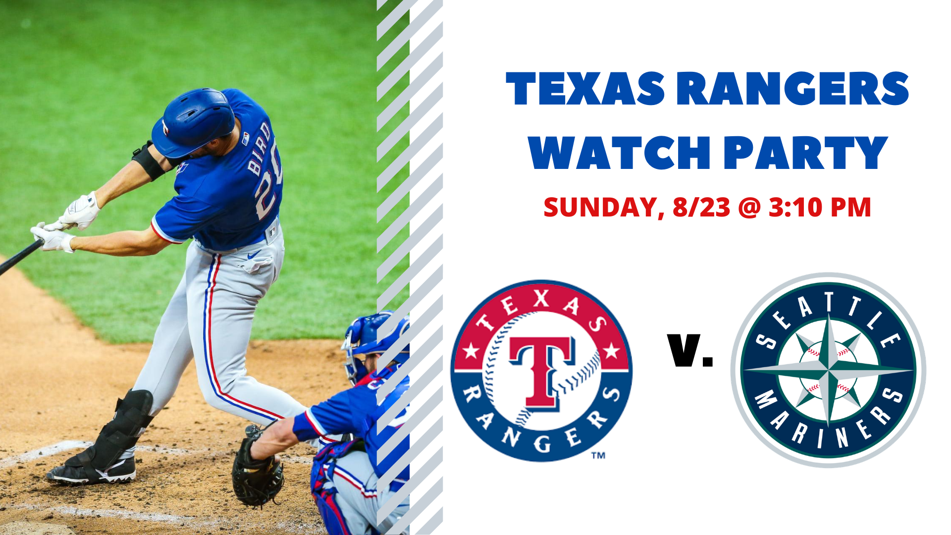 Promo image of Rangers v. Mariners | Free Watch Party